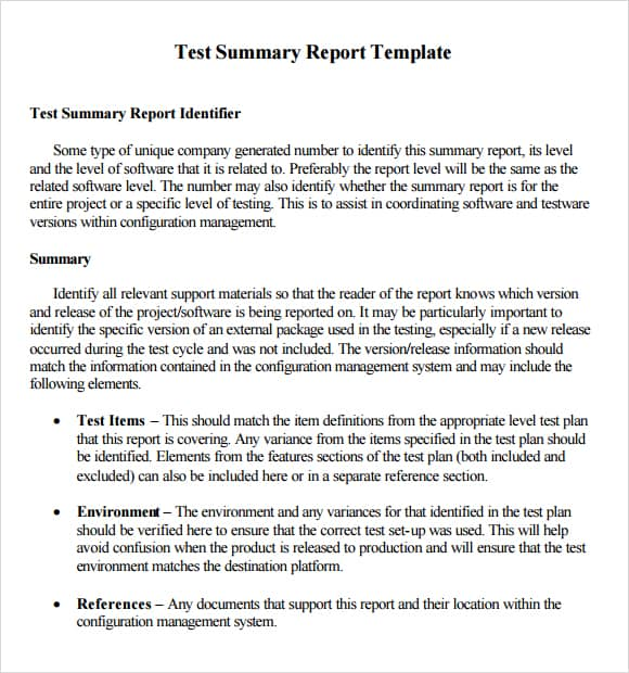 Summary Report Templates  Excel Pdf Formats