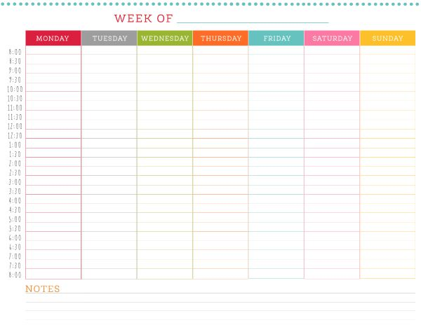 template weekly schedule