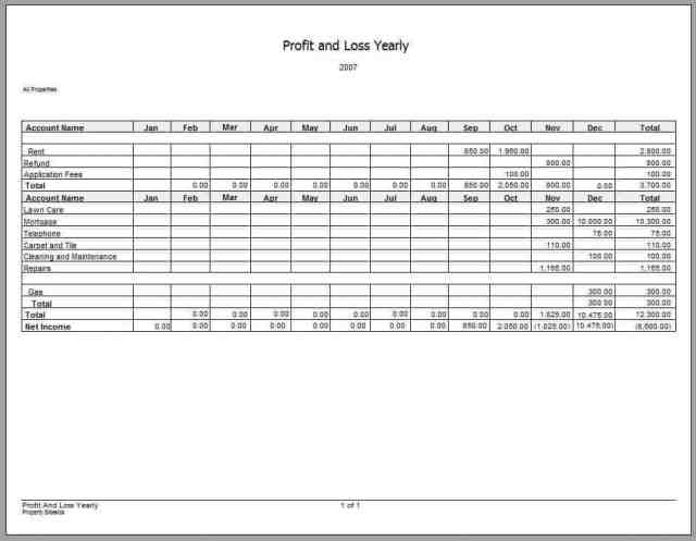 Profit and Loss Statement 214