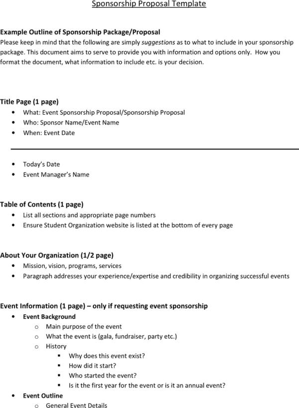6 Sponsorship Proposal Templates - Excel PDF Formats