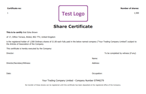 ShareStock Certificate Template 54441