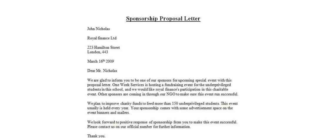 Doc732894 Sample Sponsorship Proposal Letter Template – Letter Sponsorship