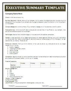 Executive Summary Template 2124  Exec Summary Example