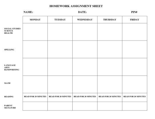 homework template 874