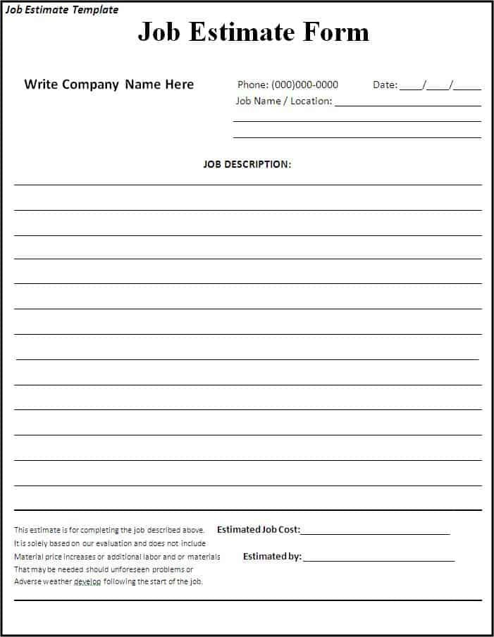 free printable job estimate forms
