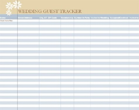 wedding gust list template 841
