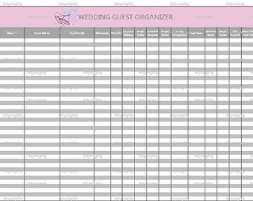 wedding gust list template 8787