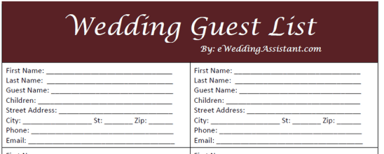 wedding gust list template 9765