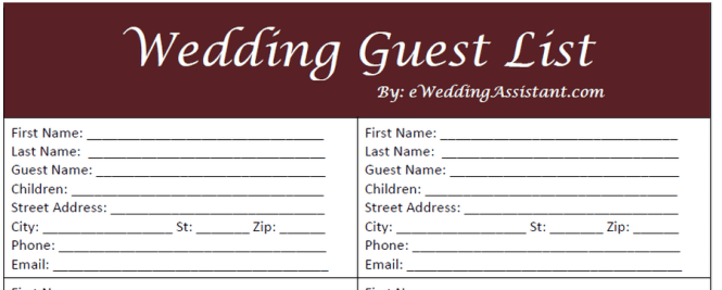 Wedding Contact List Template. Free: Master Contact Lists,Wedding