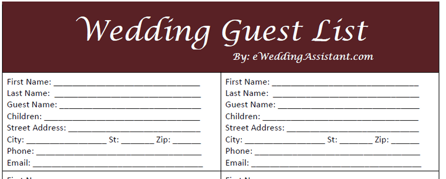 Wedding Guest List Sample. Wedding Gust List Template 9765  Guest List Sample