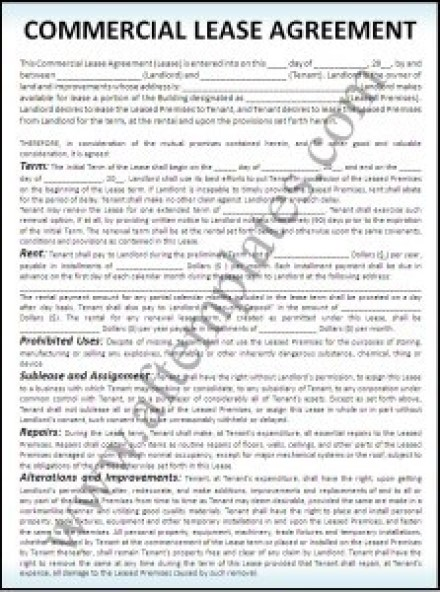 Commercial Lease Agreement Templates  Excel Pdf Formats