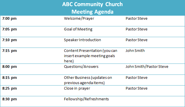 sample church business meeting agenda