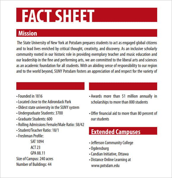 Exceptional Fact Sheet Templates