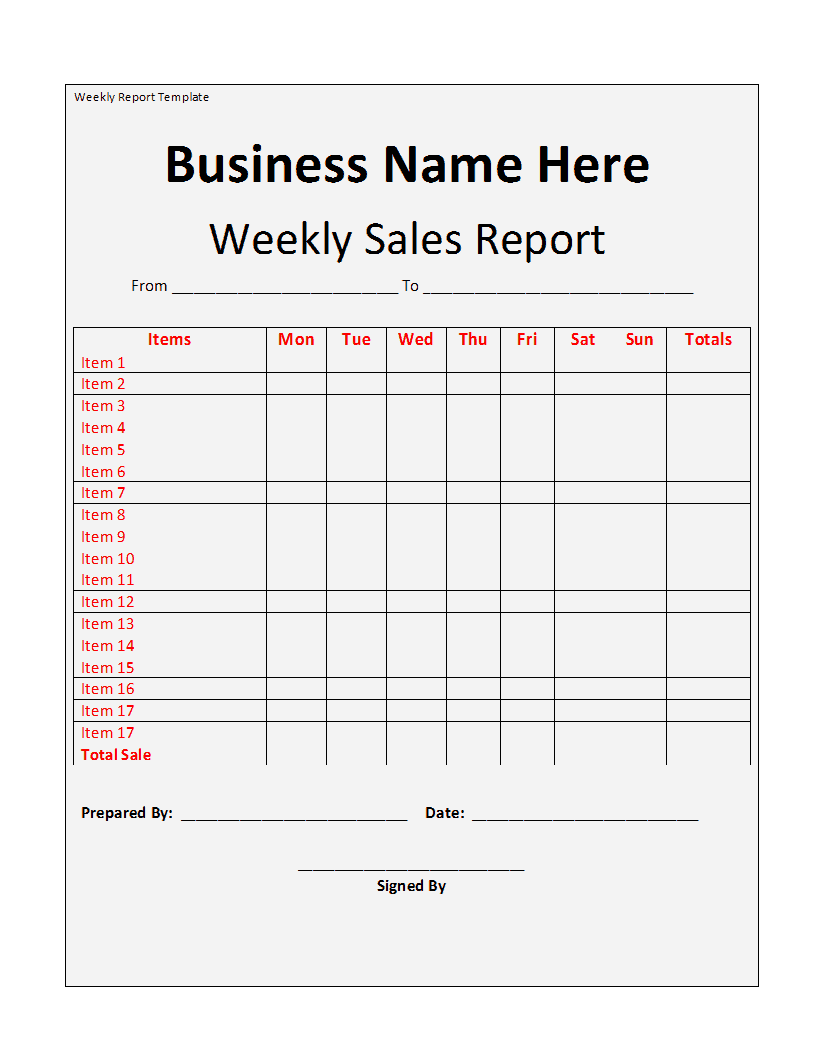 weekly sales reports