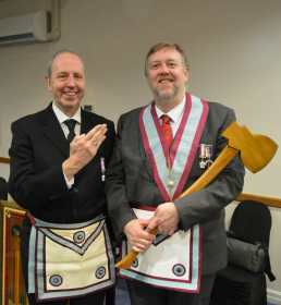 SW Bro Andrew Halford with newly Advanced Bro Paul Thomas Duran