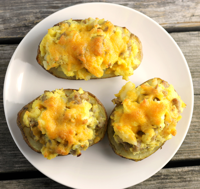 Stuffed Breakfast Potato Skins
