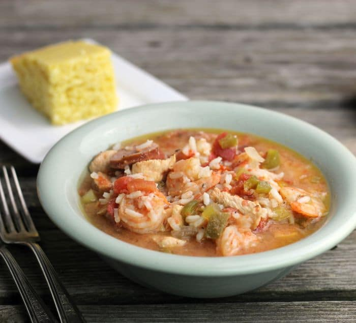 Easy Slow Cooker Gumbo is super easy to make in the slow cooker and is loaded with chicken, sausage, and shrimp and spices; and a real crowd pleaser.