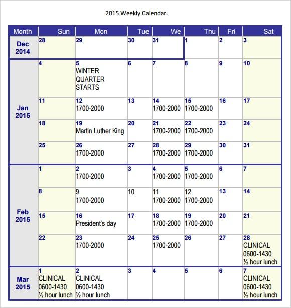 weely calendar image 1