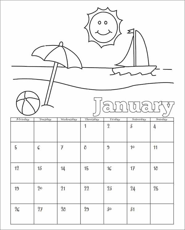 Printable Children Calendar Template