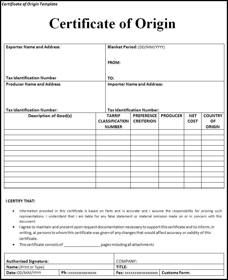 10 certificate of origin templates word excel pdf templates alramifo Images
