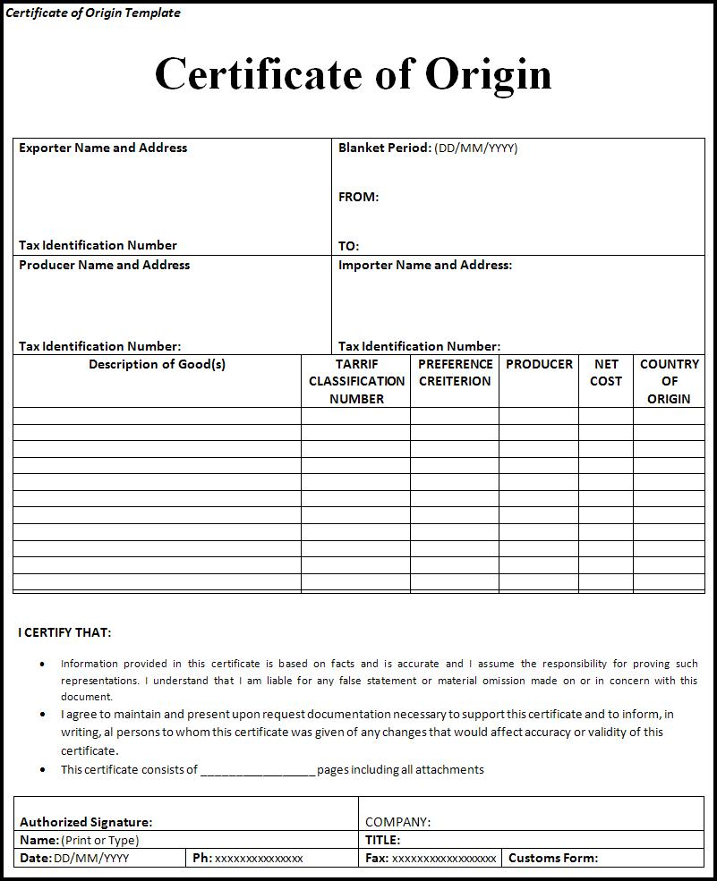 Certificate Of Origin Templates  Printable Word  Excel Templates