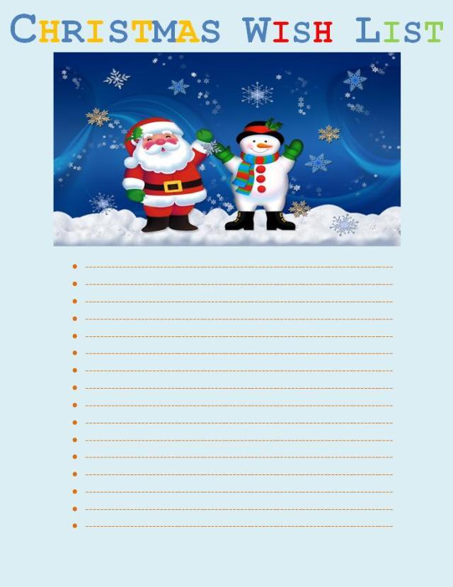 Christmas Wish List Template – Wish List Template