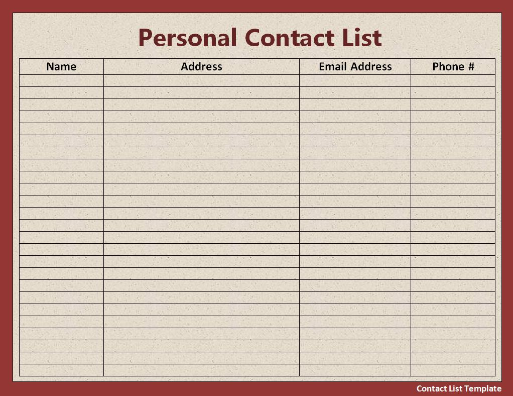 Charming Details Of Contact List Template Intended Name Address And Phone Number Template