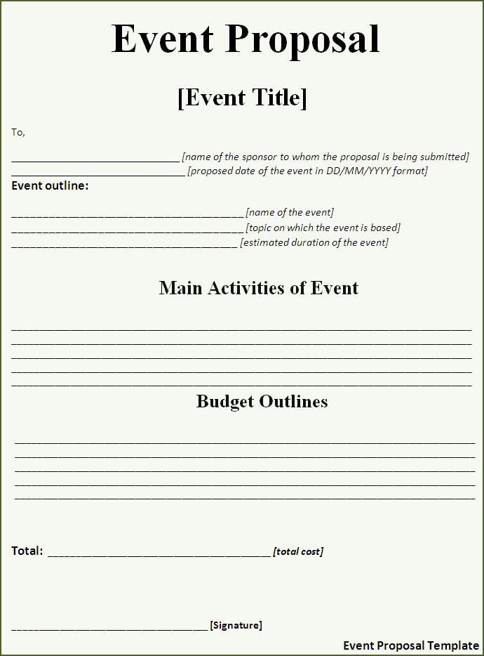 Event Proposal Template  Free Word Templates