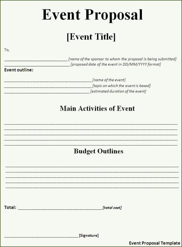 Event Proposal Template – Proposal for an Event