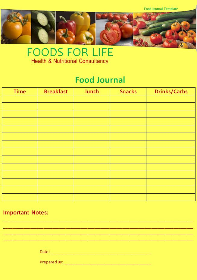 iop journal word template - 10 food journal templates free word templates