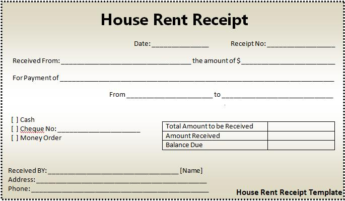 House Rent Receipt Format – Room Rental Receipt