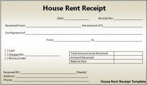 house rent receipt form