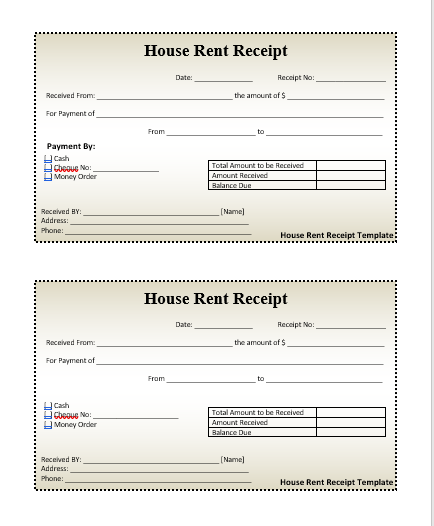 House rent receipts