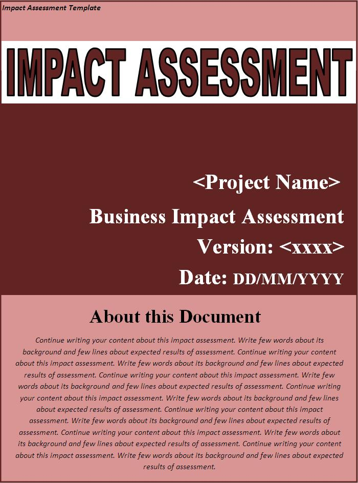 This Impact Assessment Template Is Effectively Significant While Taking  Print Out After Completion. You Do Not Need To Define Printing Setting  While Taking ...  Impact Assessment Template