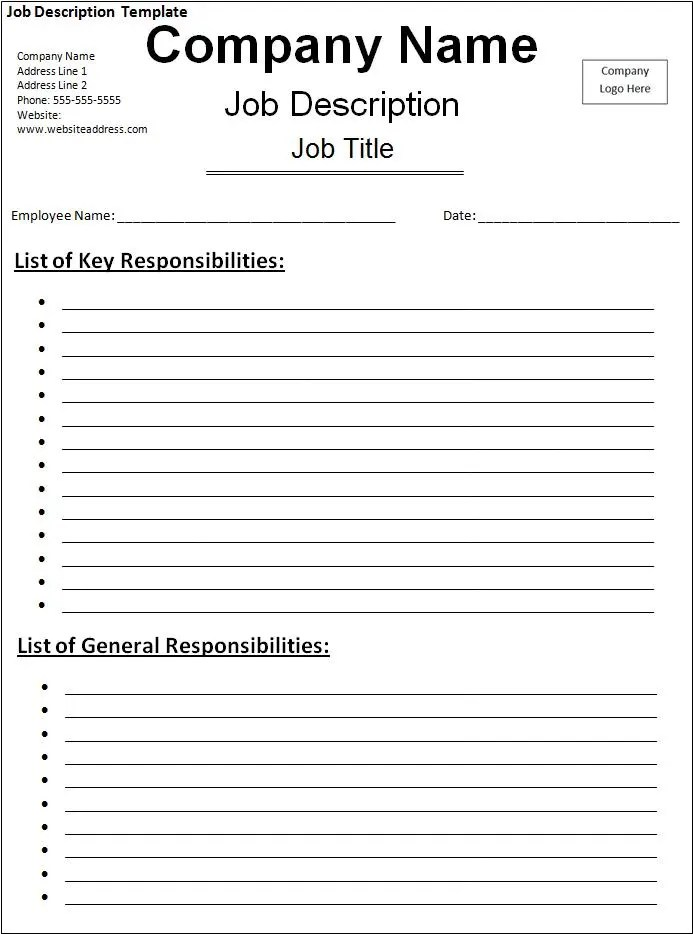 10 job description templates free word templates for Position description questionnaire template