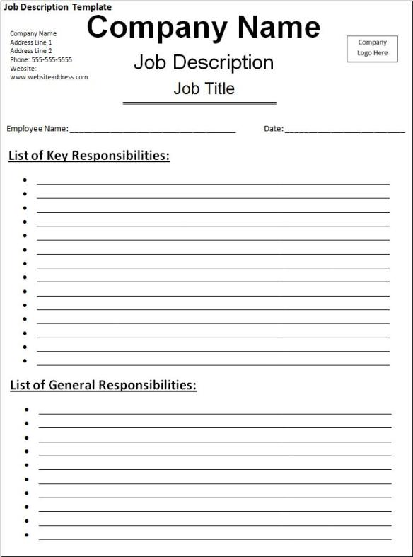 Job Description Template