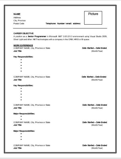 10  job resume templates