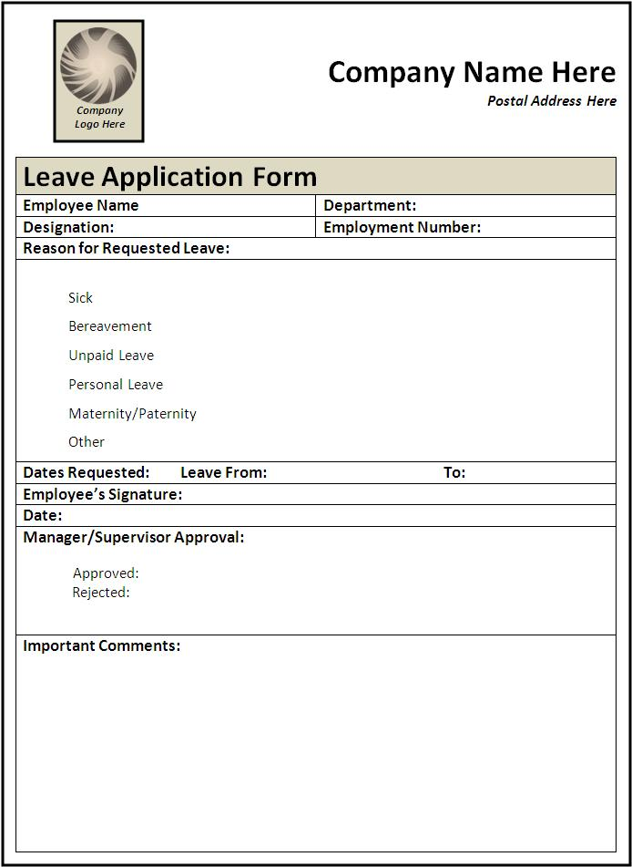 10 leave application form templates word excel pdf templates thecheapjerseys Choice Image