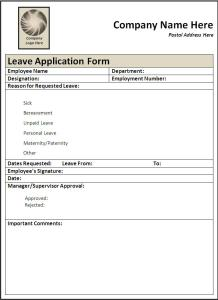 leave application form