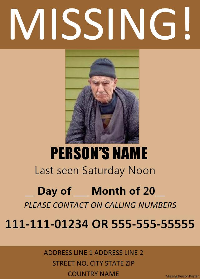 missing person poster template free