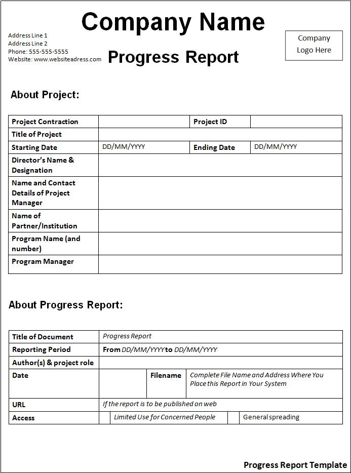 Progress Report Template  Free Word Templates