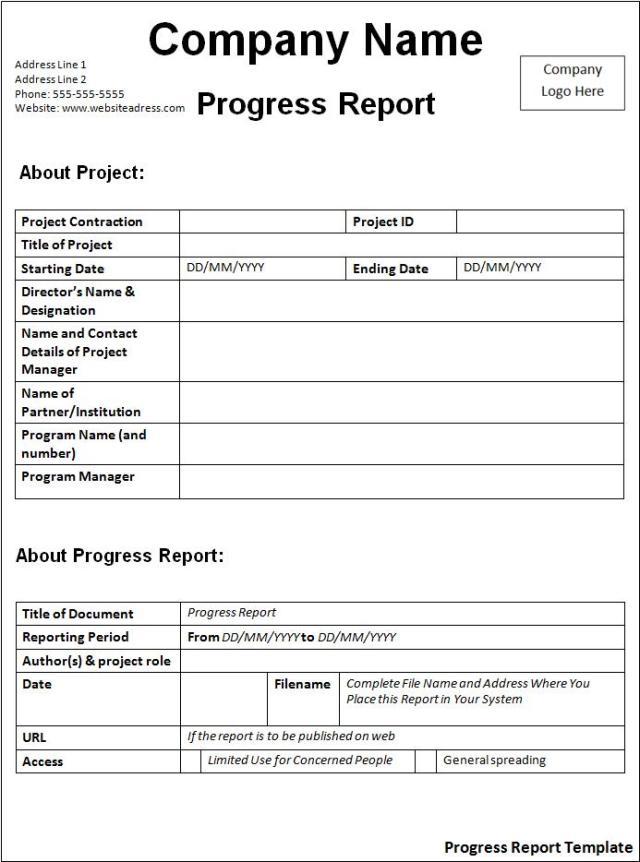 Progress Report Template – Progress Sheet Template