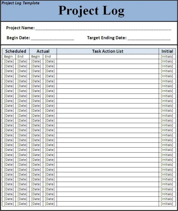 10  project log templates