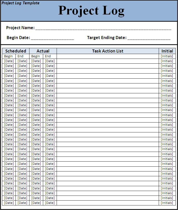 Exceptional Project Log Template Design