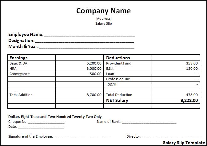 Salary slip format free word templates for Turnkey contract template