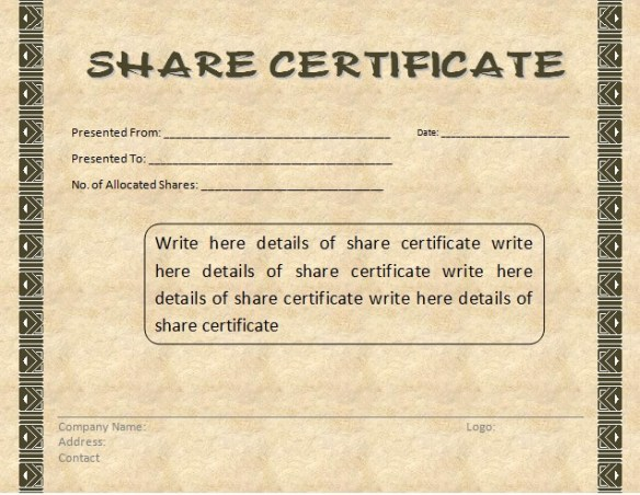 Share Certificate Template - 1