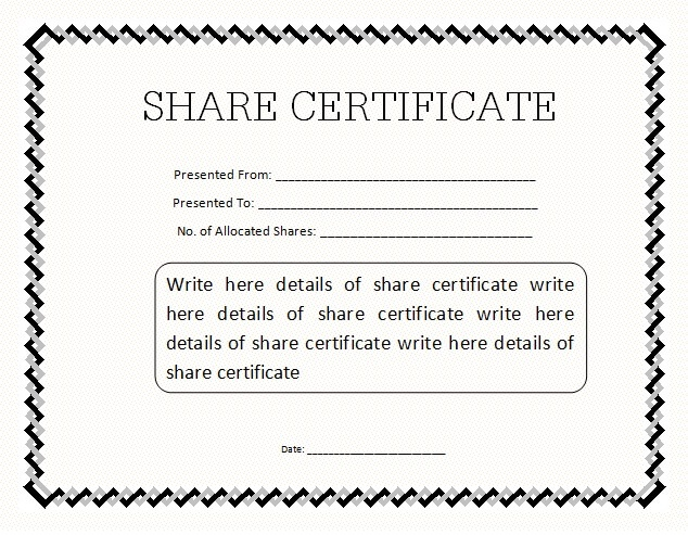 Free share certificate template oloschurchtp charming please find below a snapshot of our provided free form along with a simple and yadclub Images