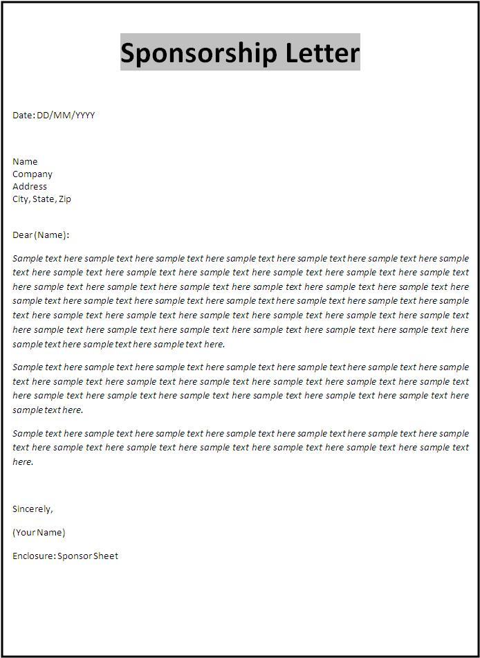 Sponsorship Letter Template Free Word Templates