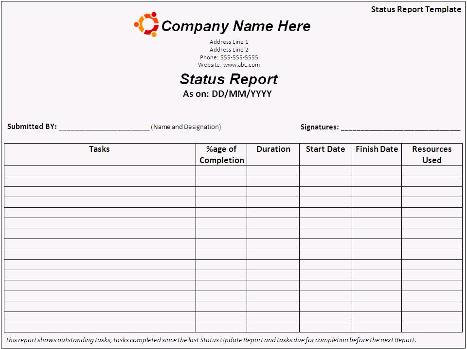 Project Status Report Template Excel