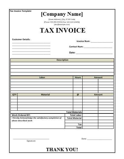 tax invoice template free